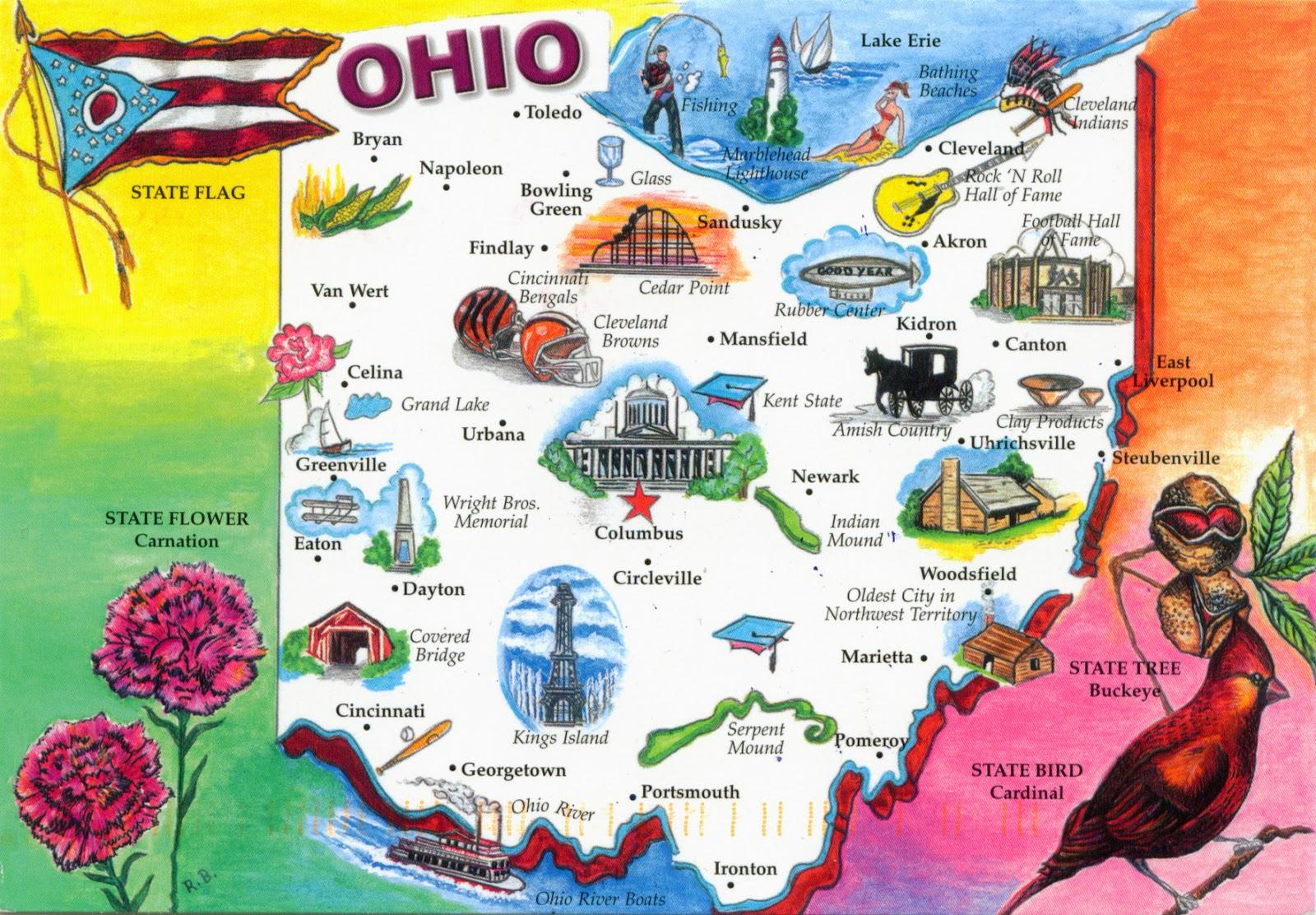 1355 ESTADOS UNIDOS (Ohio) - Mapa de Ohio y la bandera - Mapas ...
