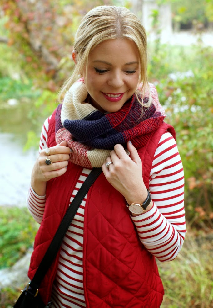 stripe sweater infinity scarf