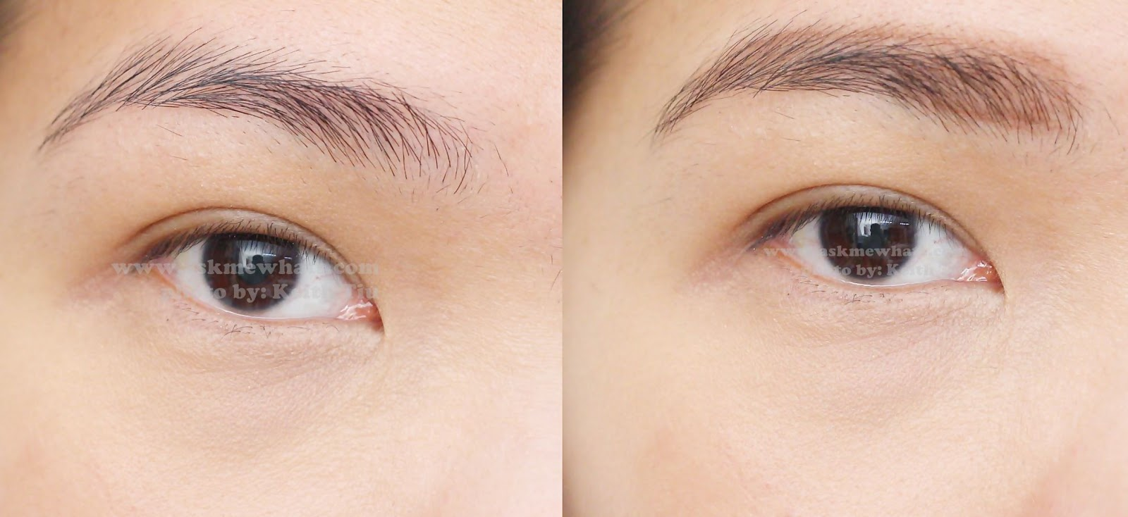 A Before And After Photo Using Etude House Easy Brow Pencil 2