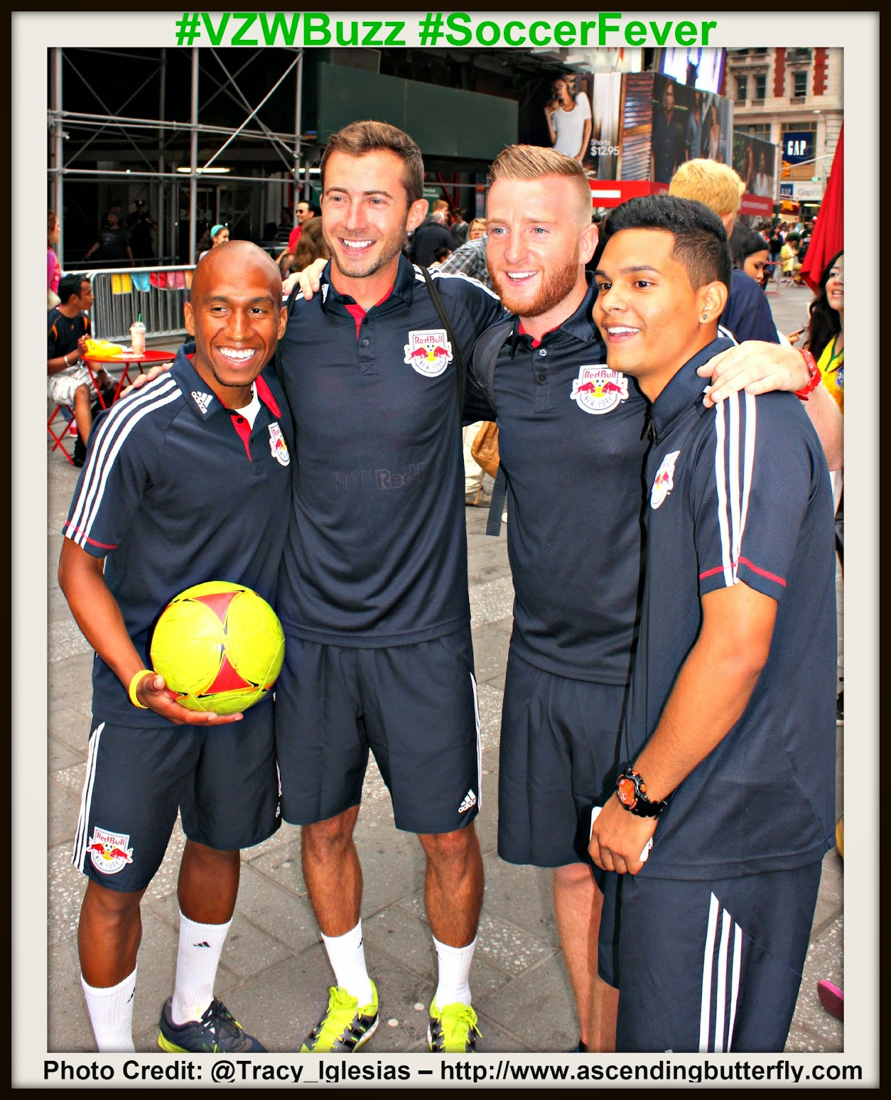 The New York Red Bulls and New York City Bloggers Times Square New York #VZWBuzz #SoccerFever