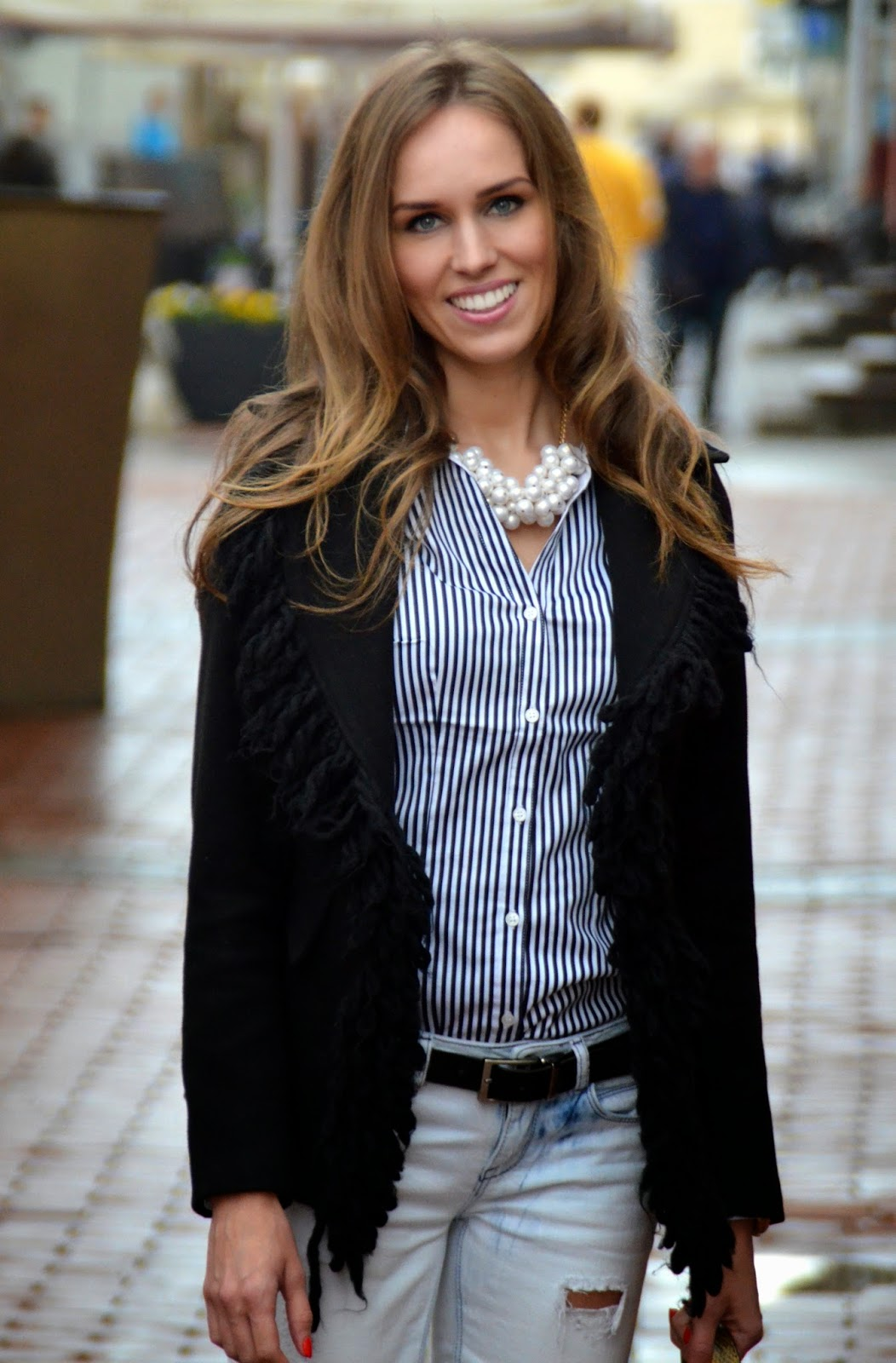 pearl necklace striped shirt fringe jacket