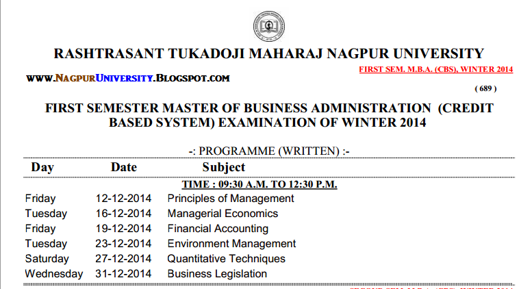 Rtmnu first sem mba cbs time table exam winter 2014 for Rtmnu time table 4th sem