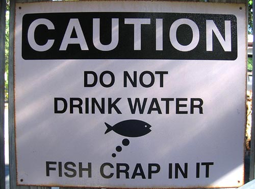 funny warning sign - do not drink water