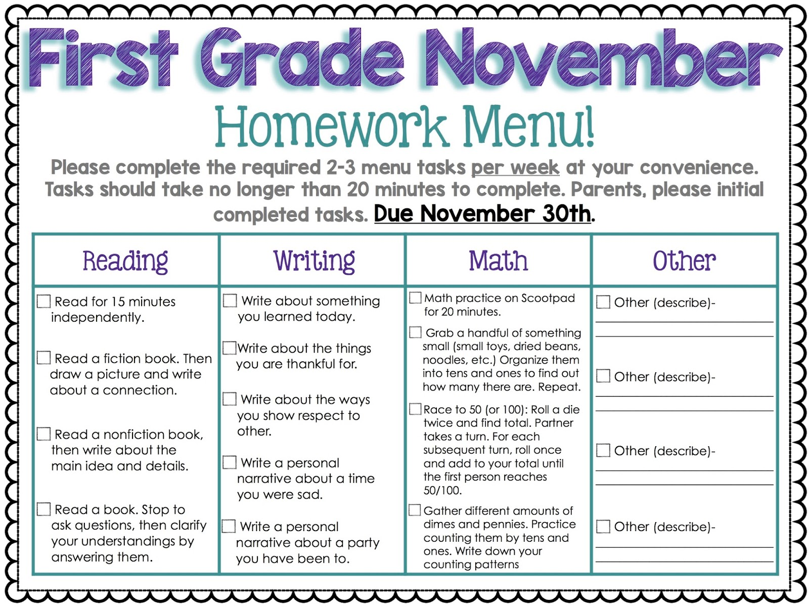 Homework help for first graders