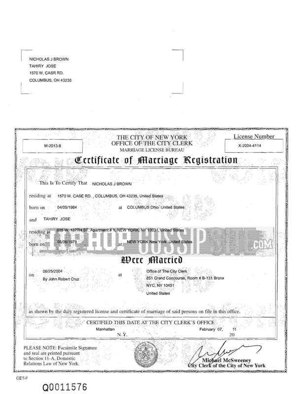 tahiry%2Bmarriage%2Bcertificate%2B1 Love & Hip Hop New York: Has Tahiry Joses Personal Life Been Exposed? [Details]