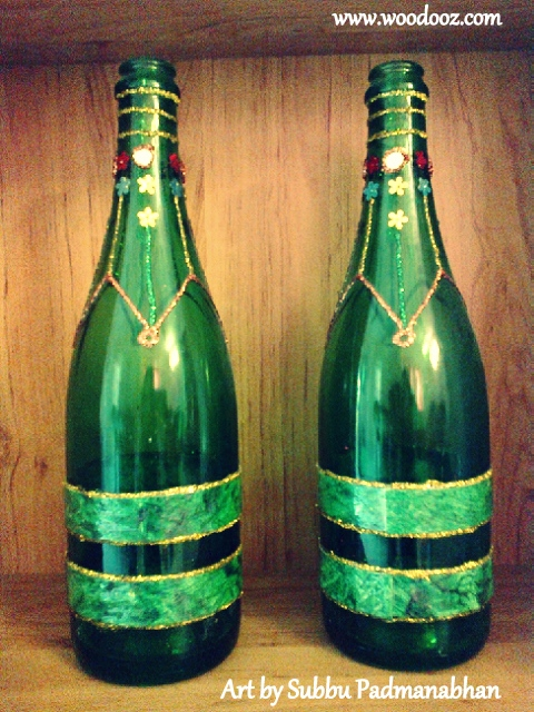Art idea to upcycle wine bottles indian woodworking diy for Bottle arts and crafts