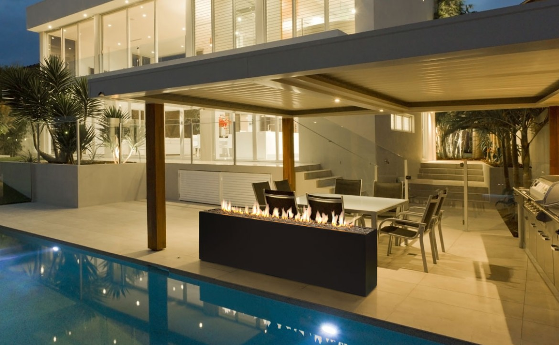 modern interior design stardust long rectangular outdoor fire