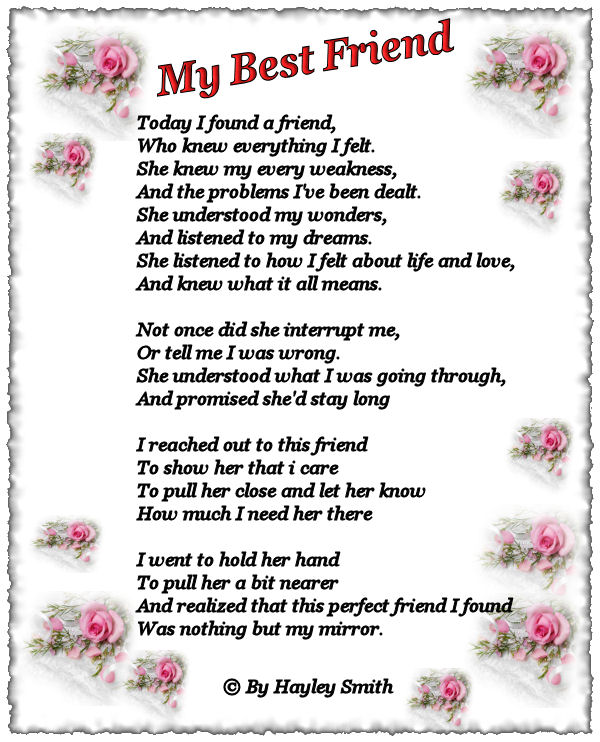 I Love You Best Friend Poems