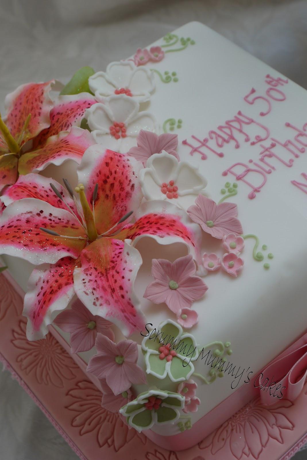 Scrummy Mummys Cakes Stargazer lily 50th Birthday Cake