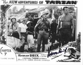 Cartel de las aventuras de tarzán autografiado por Hernan Brix