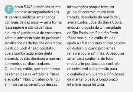 5145 diabéticos acima do peso receberam acompanhamento médico em 16 centros médicos americanos, durante dez anos...