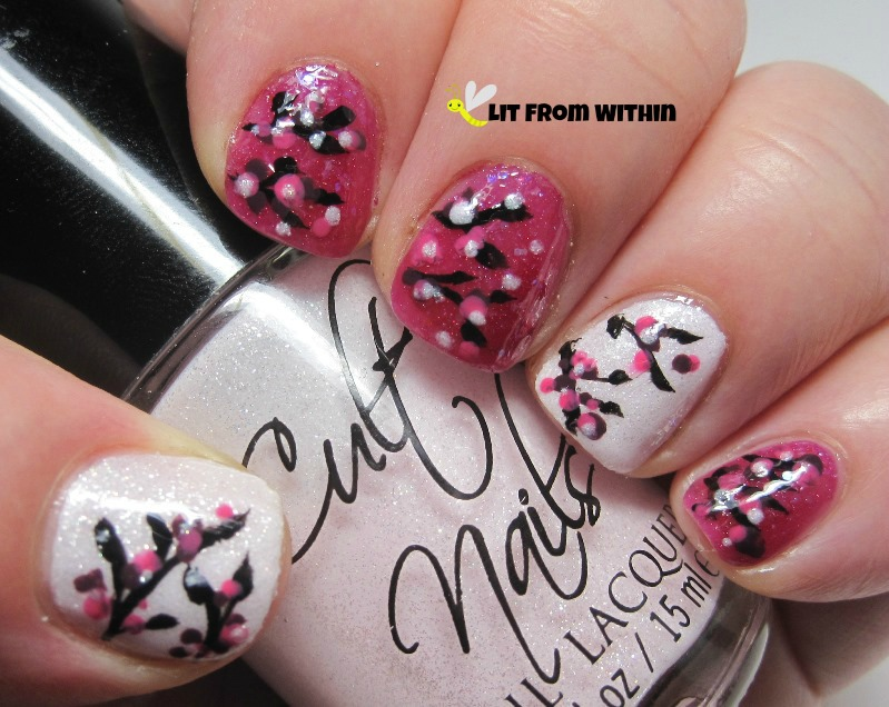 abstract blossoms, with dots of polish
