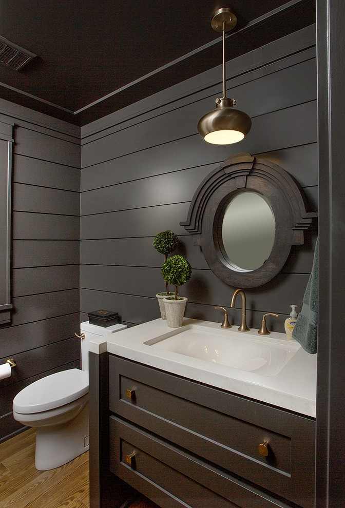 Dark bathroom furniture in Craftsman style home in Dublin, Ohio
