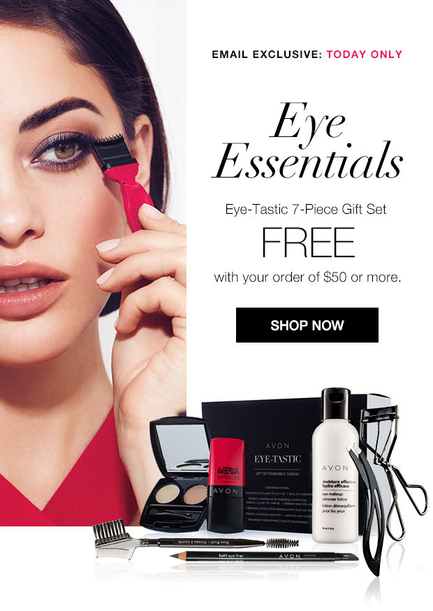 Free Avon 7-piece Eye Essentials Gift Set with purchase.