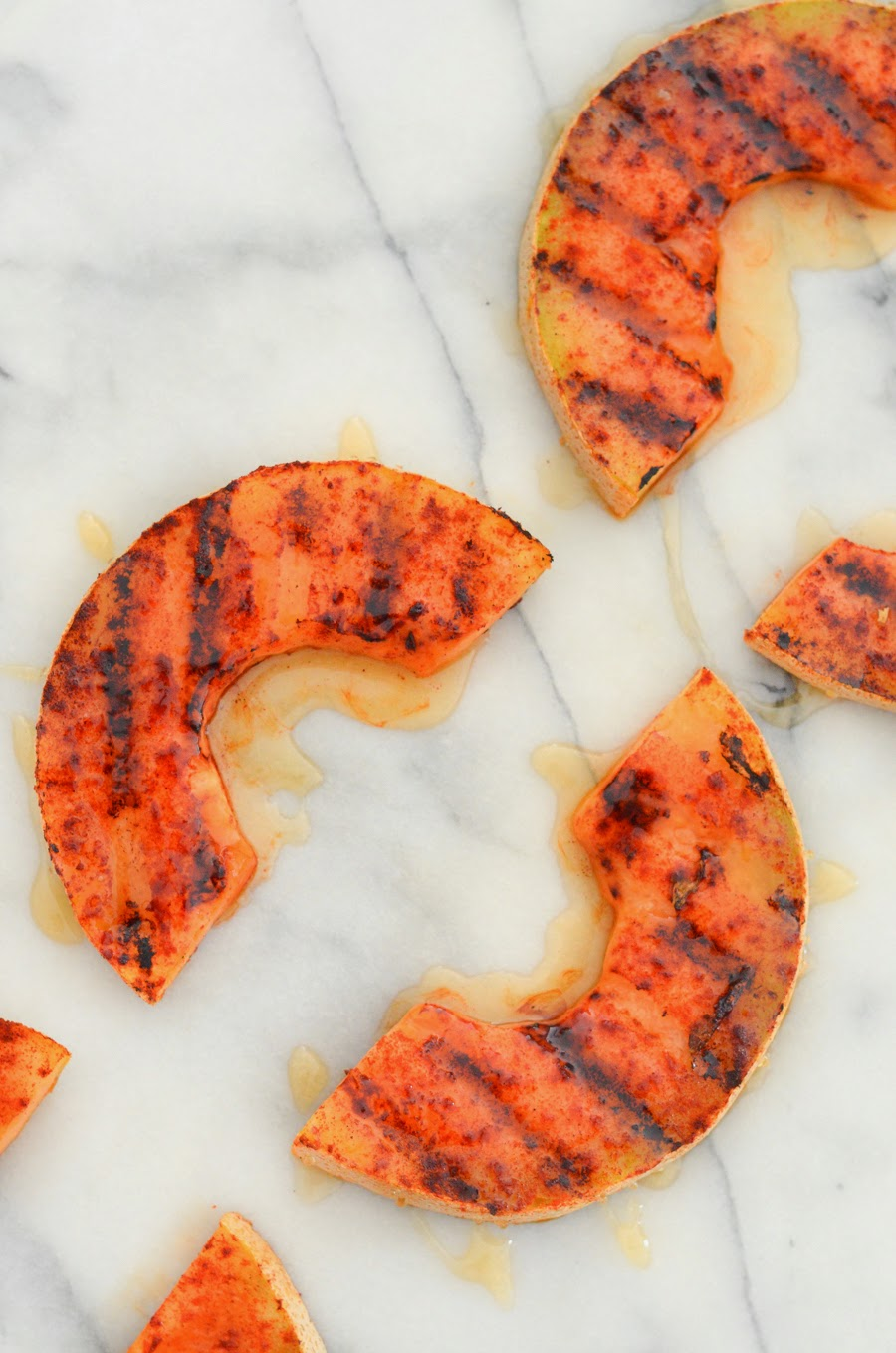 Sweet + Spicy Grilled Cantaloupe with smoked paprika & honey via @lucismorsels