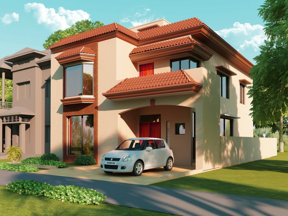 Marla 1 Kanal Plot 3D front Elevation Of House in Lahore Pakistan 2