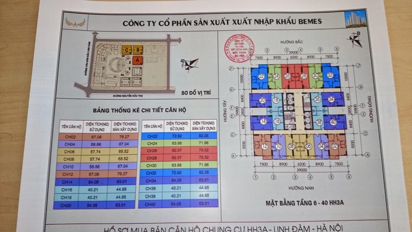Mặt bằng thiết kế căn hộ chung cư HH3A Linh Đàm