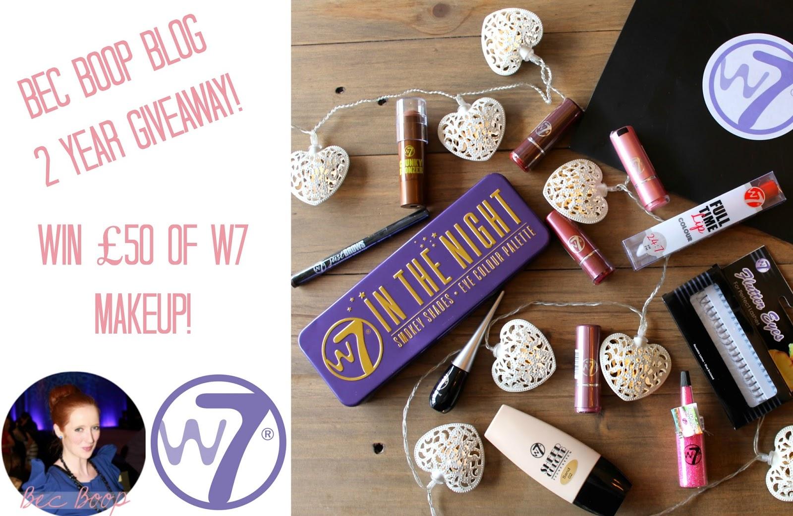 Bec Boop 2 year giveaway w7 makeup