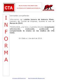 C.T.A. INFORMA CRÉDITO HORARIO ANTONIO PÉREZ, MARZO 2019