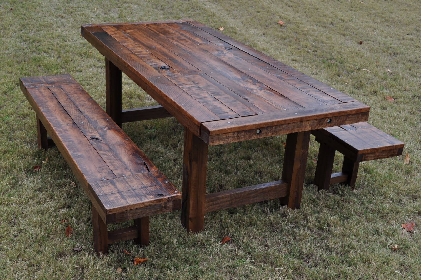 The Clayton | Rustic, Distressed, Farm Style Dining Table And Benches