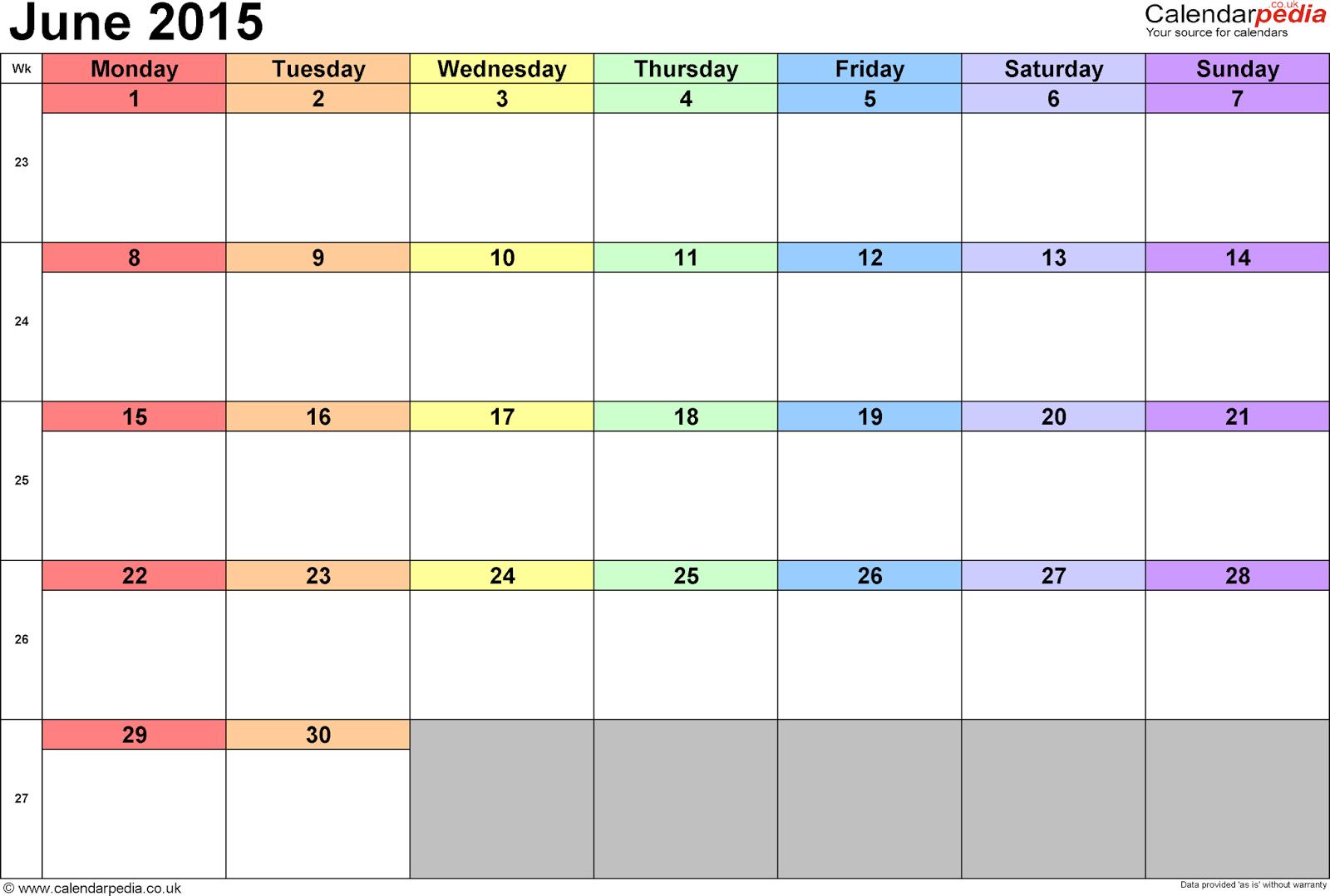 Calendarlabs June : Free printable calendar june