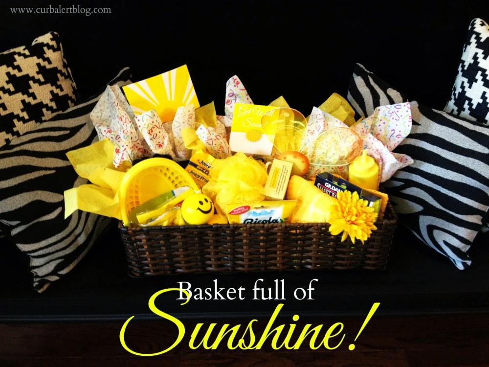 Get Well Soon Gift:  Basket full of Sunshine Yellow Goodies via Curb Alert! www.curbalertblog.com