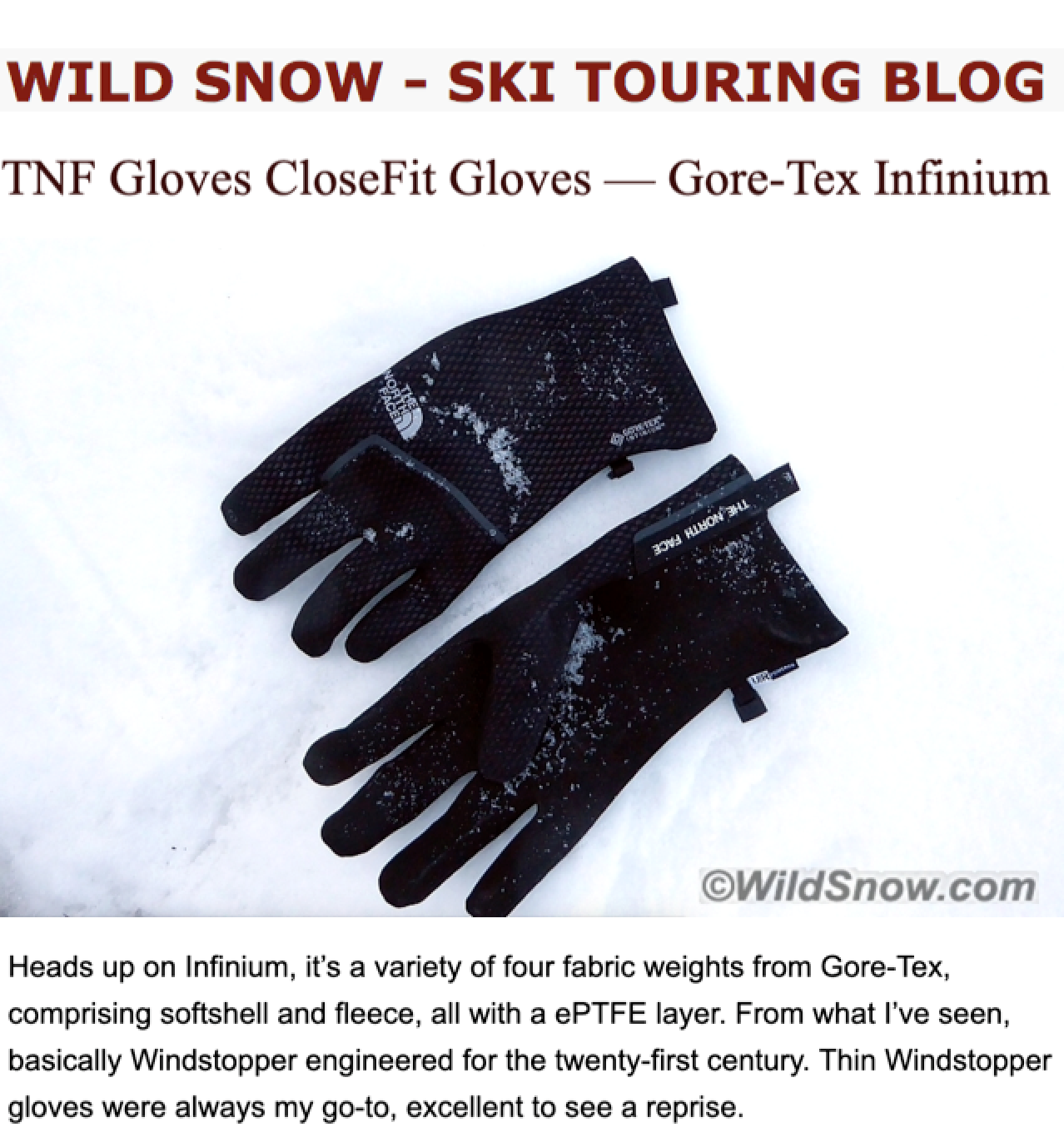 Wild Snow reviews TNF CloseFit glove with INFINIUM Technology  48ef64b1b