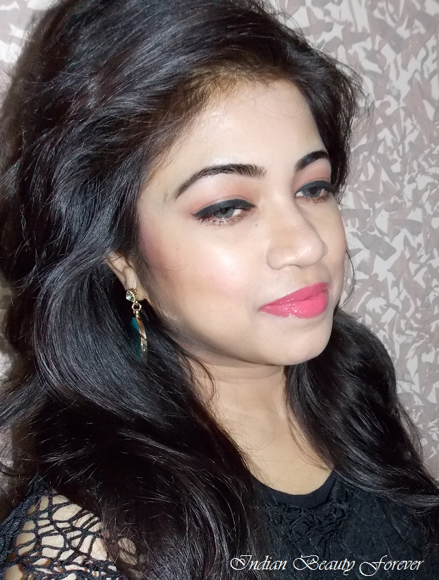 Quick Makeup Look with Peachy Pink Lips for day time indian look
