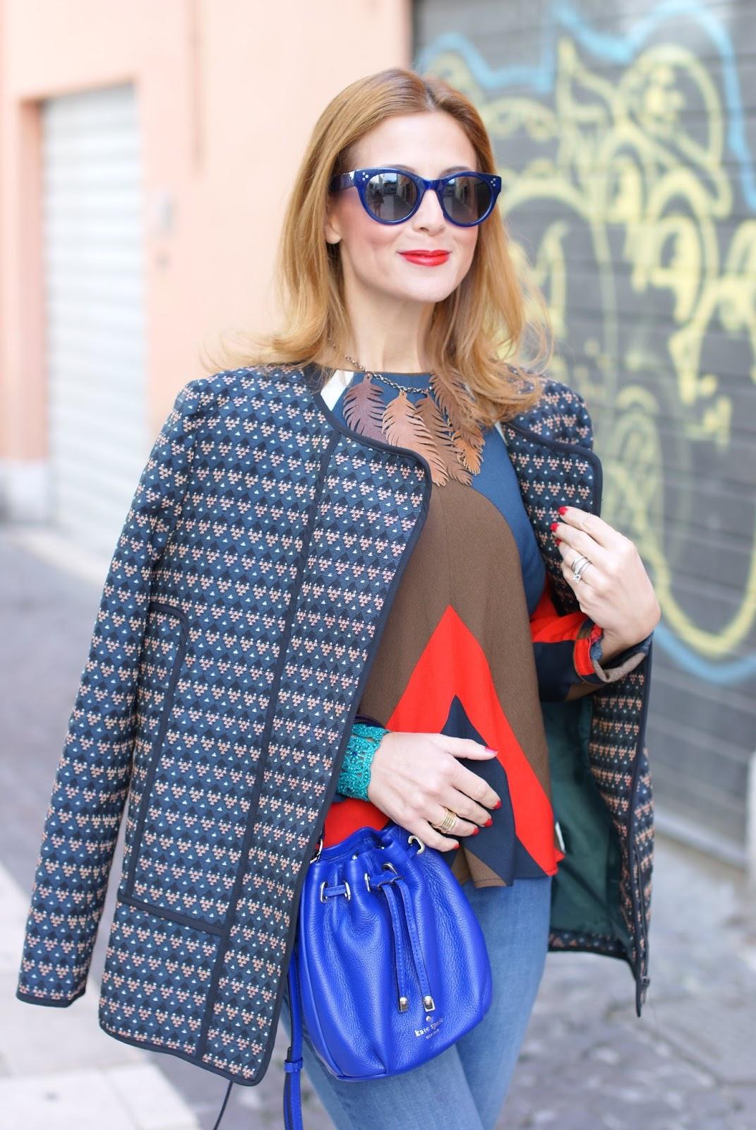 Paramita Ricinus jacket, Kate Spade mini bucket bag and Hype Glass sunglasses on Fashion and Cookies fashion blog, fashion blogger style