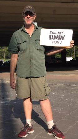 For My BMW Fund Panhandler Sign. Photo by Kate Good.