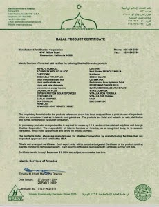 Shaklee HALAL Product Certificate 2014