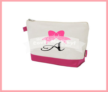 Bow Initial Cosmetic Bag