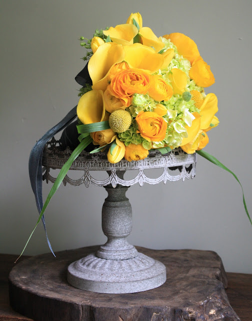 yellow calla lily and tulip wedding bouquet