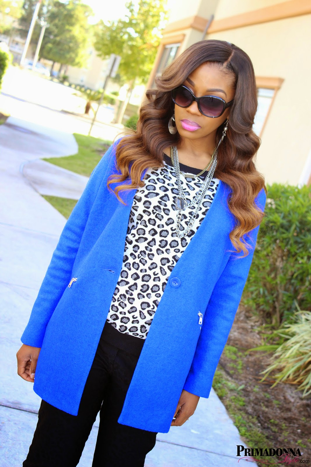 Forever 21 Zippered Collarless Overcoat  a.n.a. Animal Print Sweatshirt  89th & Madison 1978 Cheetah Print Pants Charming Charlie Smoky Edge Multi-Layered Necklace  NYX Round Lip Gloss in Doll Pink  Rock & Republic Heels