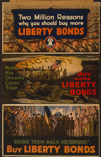 classic posters, free download, graphic design, military, propaganda, retro prints, united states, vintage, vintage posters, war, Two Million Reasons Why You Should Buy More Liberty Bonds, Bring Them Back Victorious! - Vintage War Military Poster