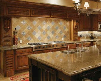See how the accent tiles were installed into the diagonal backsplash tile
