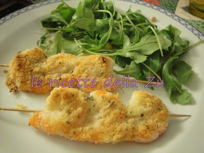 Le ricette della zu spiedini di gamberi gratinati al forno for Spiedini di pesce gratinati