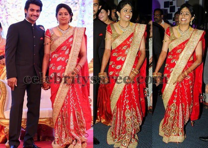 Aadhi Wife Reception Saree