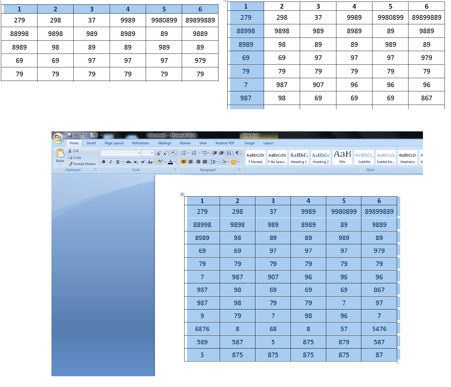 Shortcut key to Select Entire Row, Column & Table in Word