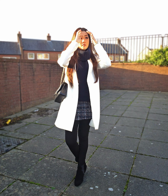 Liverpool style blog, Liverpool fashion blog, Zara Autumn Winter 13, Zara double breasted white coat, Zara combination skirt, Zara concealed wedge boots, Chanel medium classic flap bag, Chanel 2.55 caviar leather