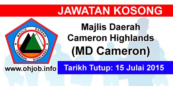 Jawatan Kerja Kosong Majlis Daerah Cameron Highlands (MDCameron) logo www.ohjob.info julai 2015