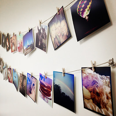 DIY decoration. Using Instagram photos as wall decoration.