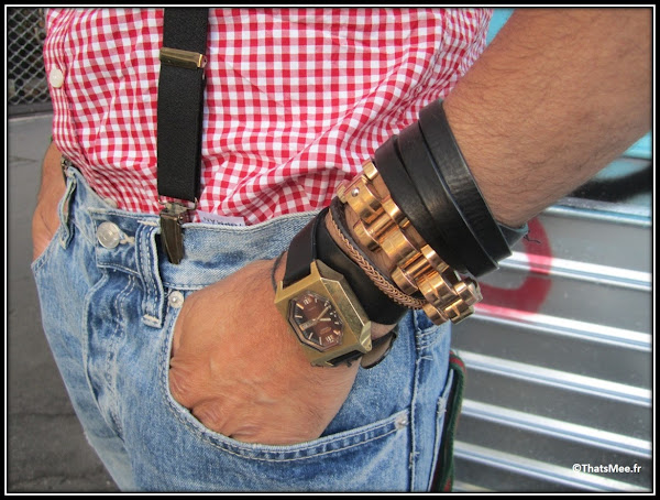 Franck Passerat bretelles DONDUP Milan Jean Topman chemise vichy rouge hommes H&M, bracelets H&M montre vintage Citizen Hommes, bracelet métal Balenciaga