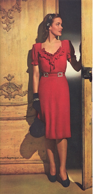 Such a pretty red dress! #40s #fashion #red #dress #1940s #vintage