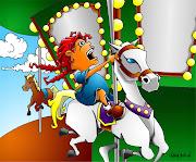 Illustration FridayTwirl · Girl On Carousel by Chavah Billin (twirl)