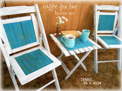 White and Teal Bistro Set from http://deniseonawhim.blogspot.com