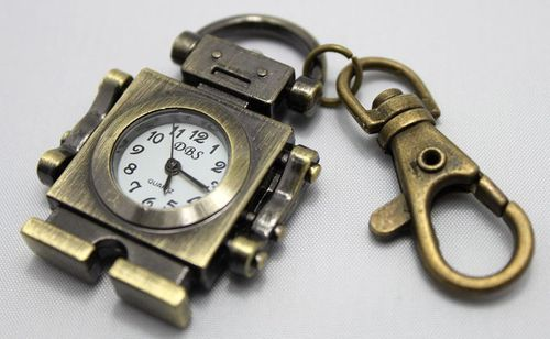 Steampunk Robot Clock Key Chain