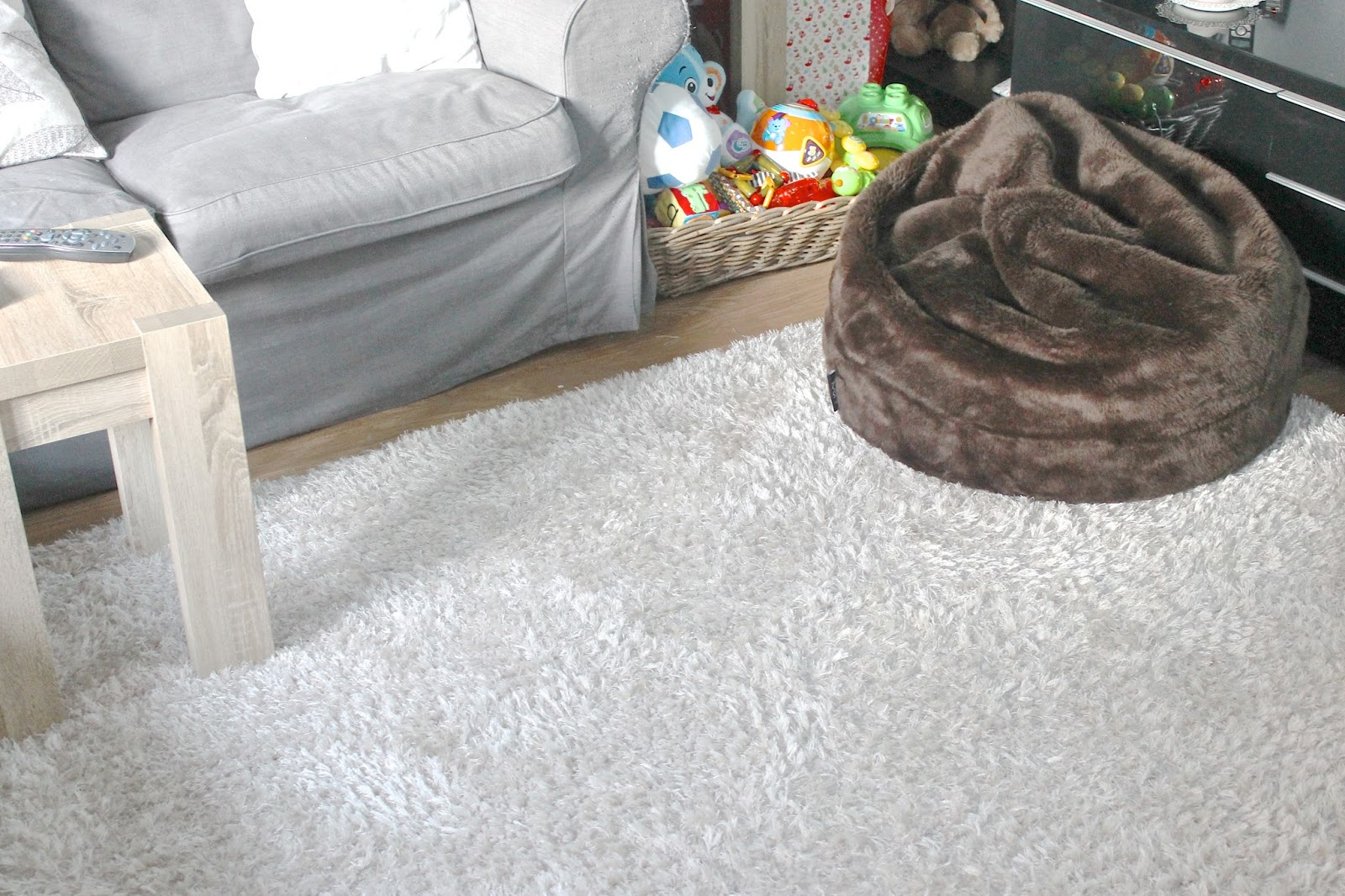 play area, play space, next rug, bean bag, faux fur bean bag, toy storage, baby area