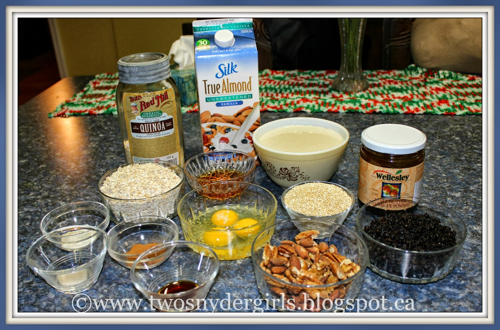 Baking ingredients for Gluten Free Baked Oatmeal and Quinoa