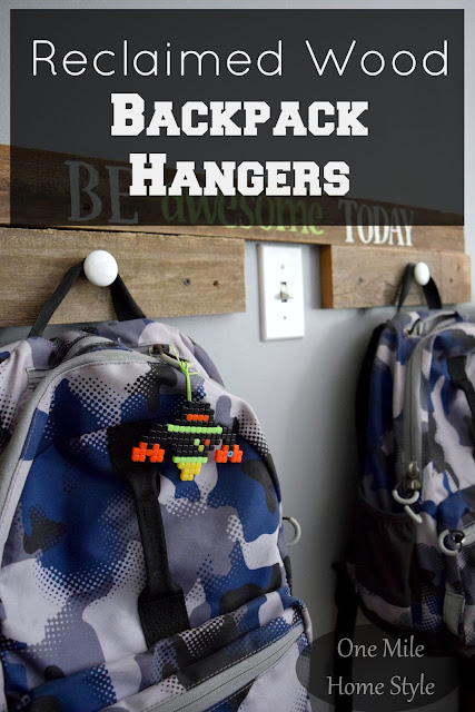 DIY Reclaimed Wood Backpack Hangers - One Mile Home Style